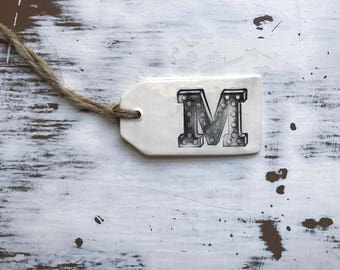M Initial Ceramic gift tag/wine bottle tag