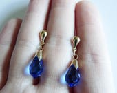 Art Deco Revival 9ct 9K Nine Carat Gold Blue Crystal Glass Dropper Petite Earrings