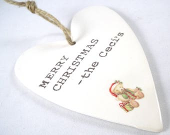 Custom Family Valentine Ornament, Stamped Heart Ornament, Custom Heart Ornament, Family Gift, Gift from the whole family