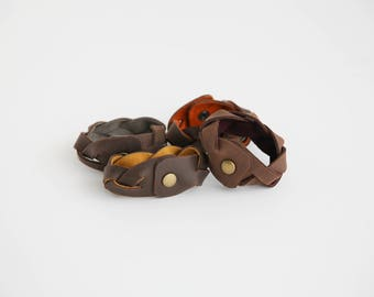 Impossible Braid Leather Cuff- Braided Bracelet