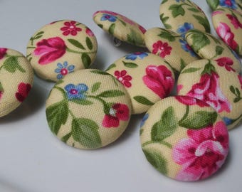 One Dozen Vintage Blue and Fuchsia Flowers with Green Leaves On Yellow Ground Sewing Buttons.  Wedding Decor, Home Decor.