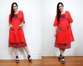 Vintage Indian Gypsy Folk Kaftan Kimono Cape Boho Angel Wing Maxi Dress RARE
