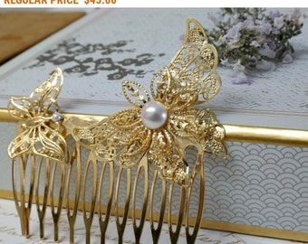 SALE - Wedding Decorative Comb, Wedding Hair Accessories, Gold Hair Comb, Pearl Bridal Comb, Gold Wedding Headpiece, Butterfly Comb, Pearl