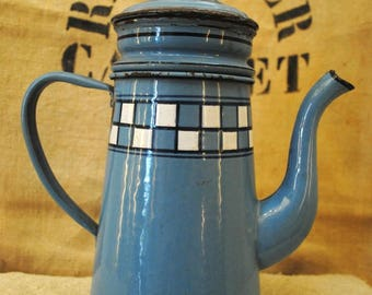 Enameled  French Blue COFFEE POT LUSTUCRU Checks
