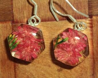 Pink Wildflower Sterling Silver Earrings