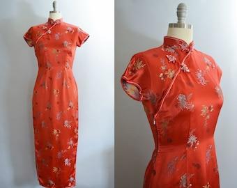 1960s Silk Satin Cheongsam Dress   Small/Medium