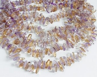 Ametrine  stick beads , freeform, stick beads (9-13x3-5mm), amethyst and citrine stick beads