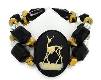 Skeleton Deer Black Beaded Glass Cameo Bracelet