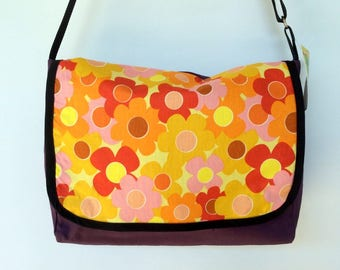 Retro Daisy Satchel / Laptop Bag - purple, orange, 70s flower handbag, messenger
