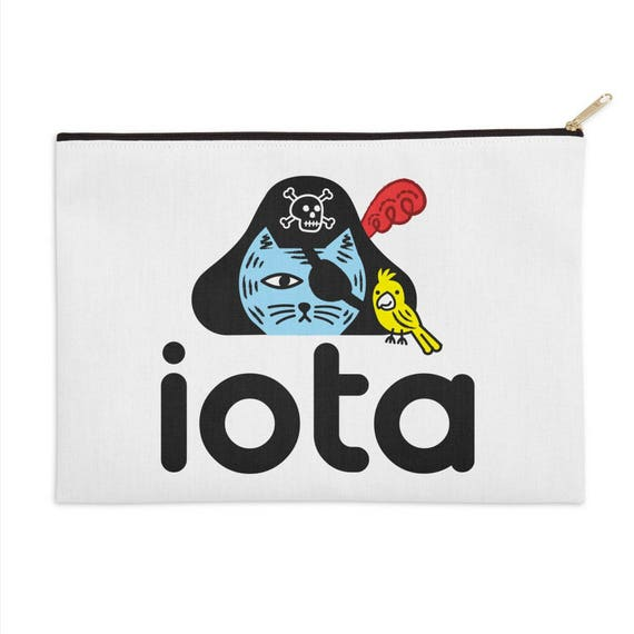 "iOTA Pirate Kitty - Zip Pouch - Purse - 12.5"" x 8.5"""