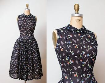 1950s Novelty Print Dress / 50s Black Gauze Dress Peter Pan Collar