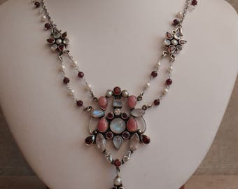 Moonstone Rhodochrosite Necklace Sterling Silver Nicky Butler India Vintage 010116BKH