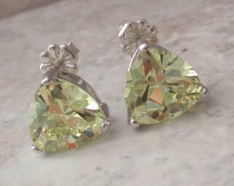 Lime Green Earrings Sterling Silver Trillion Chrysoberyl Color CZs Pierced Post Vintage OT0126