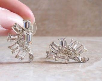 Crystal Rhinestone Earrings Posts Pierced Emerald Cut Sunburst Vintage 080114ON