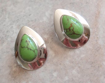 Gaspeite Earrings Sterling Silver Green Pear Shape Posts Pierced Vintage AT0191