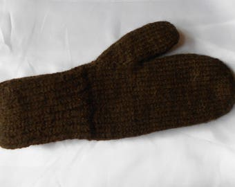 100% Alpaca Mittens - DARK BROWN - Large Size