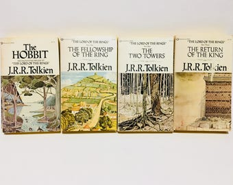 Vintage Fantasy Books The Hobbit and Lord of the Rings by J. R. R. Tolkien 1973-1975 Editions Paperbacks