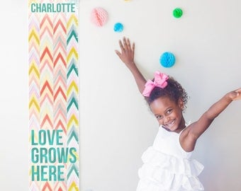 Custom/ Personalized Love Grows Here chevron canvas growth chart in pastels - perfect girl nursery decor or baby shower gift