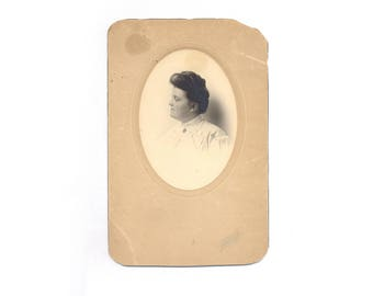 Large Vintage Cabinet Card Beautiful Pensive Woman in Pintuck Blouse with Brooch at Neck Upswept Hair with Comb Mabel Elma Gilkey July 1905