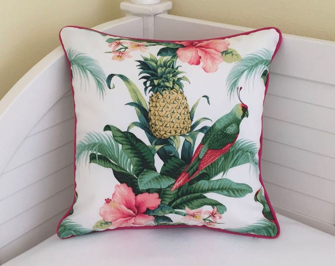 Tommy Bahama Beach Bounty in Lush Green (on Both Sides)  Indoor Outdoor Pillow Cover with Hot Pink Piping - Square, Euro and Lumbar Sizes