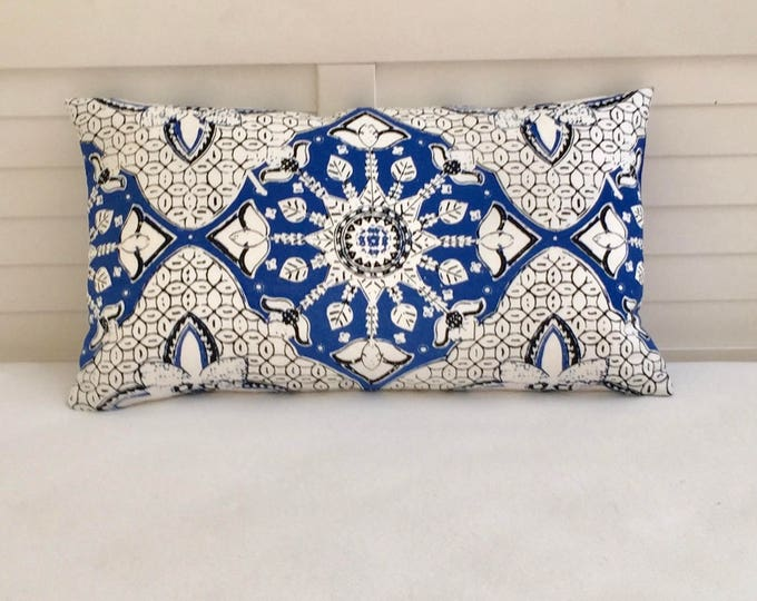 Quadrille China Seas New Batik New Navy and White Designer Pillow Cover - Square, Lumbar and Euro Sizes