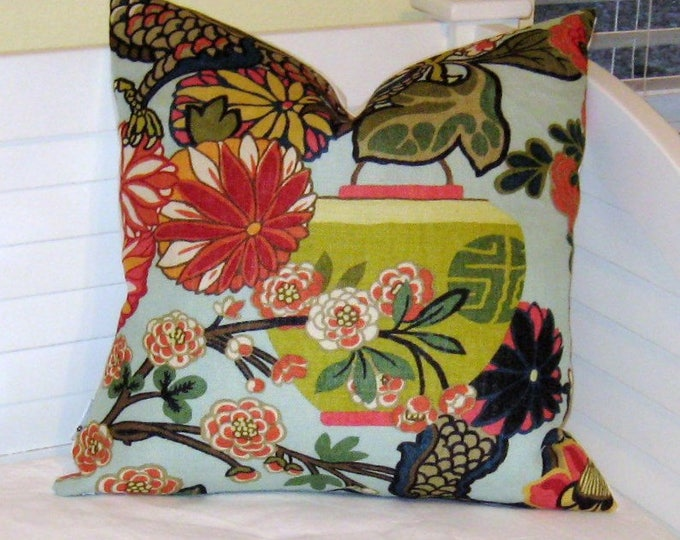 Schumacher Chiang Mai Dragon in Aquamarine Designer Pillow Cover with Lantern Design