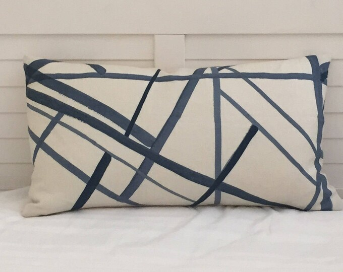 Kelly Wearstler Channels in Periwinkle and Oat Designer Pillow Cover - Both Sides or Front Only - Square, Lumbar and Euro Sizes