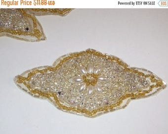 ON SALE Rhinestones Pearls and Gold Beaded Applique--One Piece