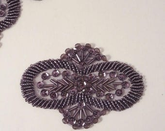 ON SALE Amethyst Beaded Applique--One Piece
