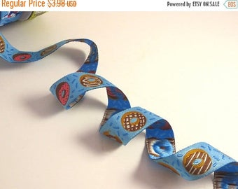 """ON SALE Fun Iced Donuts on Blue Polyester Jacquard Ribbon 7/8"""" Wide--By the Yard"""