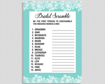 Bridal Word Scramble Game, Tiffany Blue & White Lace Wedding Shower Game, Neutral, DIY Printable, INSTANT DOWNLOAD