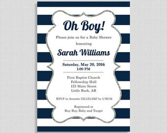 Navy & White Stripe Baby Shower Invitation, Oh Boy Invite, Baby Boy Shower Invite, DIY PRINTABLE