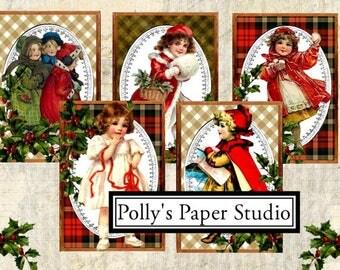 Vintage Christmas Children on Plaid Images Collage Digital Images printable download file 9 images