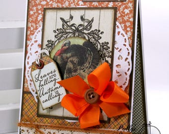 Leaves are Falling Fall-Thanksgiving Greeting Card Polly's Paper Studio Handmade