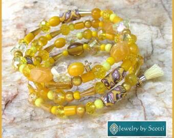 Multistrand Wrap Bracelet Glass Clay Acrylic Stone Crystal Metal Wire Yellow Gold Summer Sunshine Solar Plexus Chakra One Size Fits Most