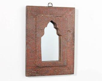 Moroccan Mirror Vintage Wood Framed Mirror Reclaimed Wood Wall Art Brick Red Wall Mirror Moroccan Decor Turkish