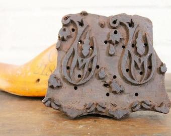 "6"" x 5.5"" Vintage Indian Fabric Printing Block Art Tool Two Paisley Motif"