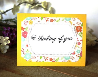 Handmade Note Card, Thinking of You, Floral, Yellow and Orange, Blank Inside, Free US Shipping, Unique, One of a Kind
