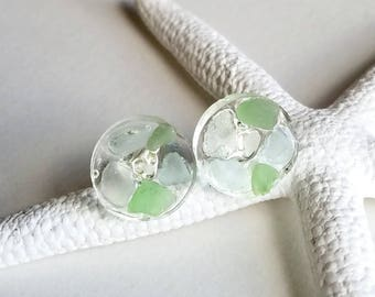 Green Sea Glass Studs, Mermaid Tears Studs, Hawaiian Beach Glass Earrings, Tiny Sea Glass Earrings