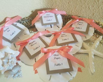 Beach Wedding Sand Dollar Table Assignments / Escort Cards/Favors with Guest Name and Table Number/ Kraft Paper Neutral
