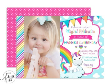 Rainbow Unicorn Invitation - Unicorn Invitation - Rainbow Party Invite - Unicorn Birthday - Unicorn Birthday Invitation - Girls Birthday
