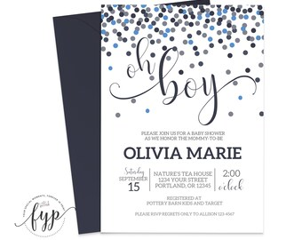 Confetti Baby Shower Invitation Boy Baby Shower Invite Printable