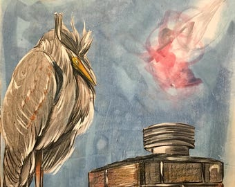 "FREE SHIPPING! Heron Art Panel 8: ""Heron on the Rooftop"""