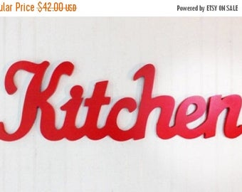 ON SALE ON Sale Red Kitchen Wall Decor / Shabby Chic Decor / Wall Word / Kitchen Wall Art / Kitchen Decor