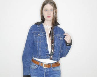 90s Qt cropped denim jacket with corduroy collar and inner floral trim by lee
