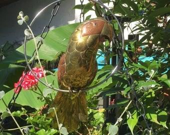 Brass Copper Parrot Bird Hollywood Regency Mid Century Modern Tropical Coastal Art by Sergio Bustamante Mexico Ready to Ship