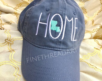 Home and State Baseball Cap Hat FABRIC strap Adult or Lafies Size All US States Available Louisiana Texas Georgia Florida South Local Cali