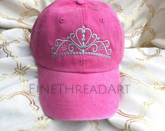 LADIES Princess Tiara with Side Monogram Baseball Cap Hat LEATHER strap Mom Bridesmaid Bride Bachelorette Pigment Dyed Queen Crown Costume