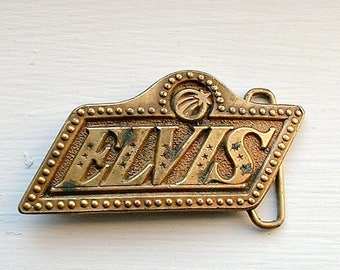 Vintage Elvis Belt Buckle 1970's Music Elvis Presley Rock Souvenir Brass Tone The King