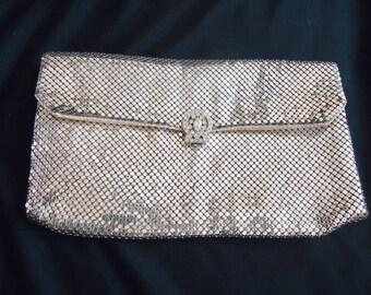 Silver Mesh Rhinestone Clasp Vintage 1950's Whiting Davis CLUTCH Evening Bag Purse
